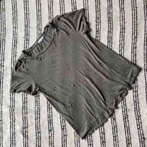Distressed relaxed fit tee